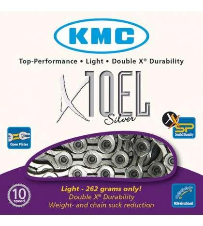 CADENA X10 EL 114 PASOS 10V CROMADA - KMC - R: 31293