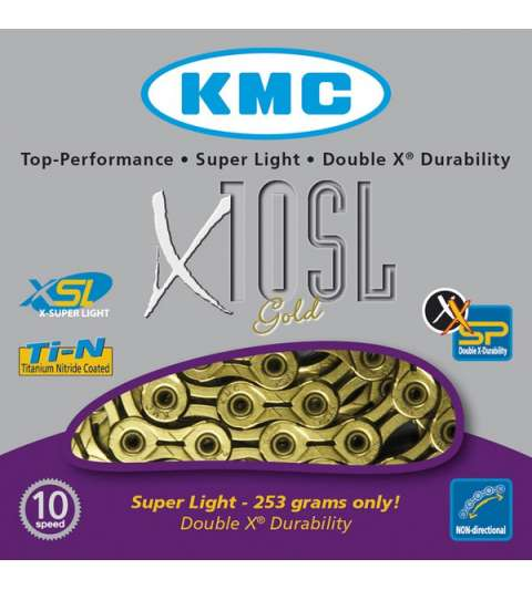 CADENA X10 SL 114 PASOS 10V ORO - KMC - R: 31257