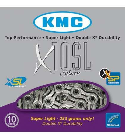 CADENA X10 SL 114 PASOS 10V CROMADA - KMC - R: 31256