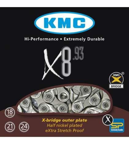 CADENA X8-93 116 PASOS INDEX 8V GRIS/CROMADA - KMC - R: 31242