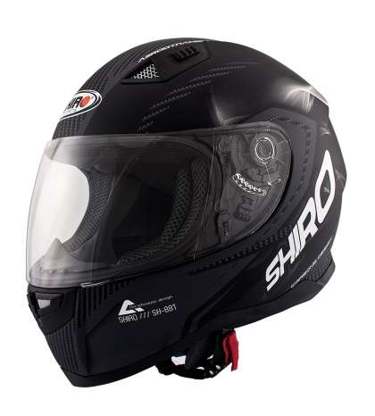 CASCO INTEGRAL TS NEGRO/MATE SIMIL CARBONO – SHIRO – R: 973 69